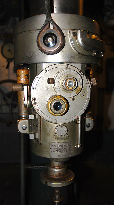 Range finder of the periscope in the control room of Finnish submarine Vesikko