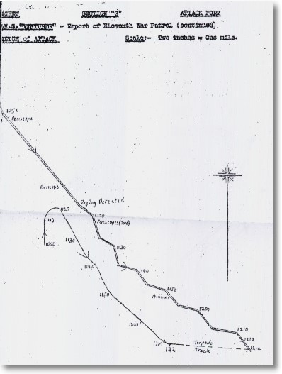 The plot presenting course of U 864, taken by crew of the British submarine HMS Venturer