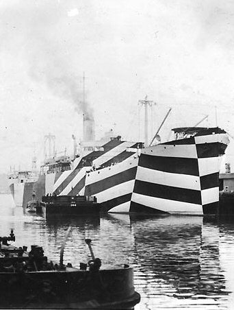 Merchant USS West Mahomet painted with dazzle camouflage
