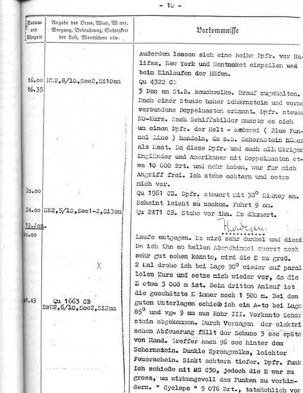 The U 123's War Diary, 12th January, 1942, the entry describes the attack on the ship Cyclops