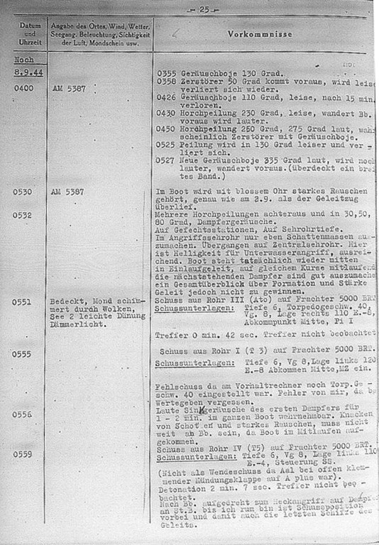 The U 482's War Diary, 8th September, 1944, the entry describes the attack on the convoy HX-305