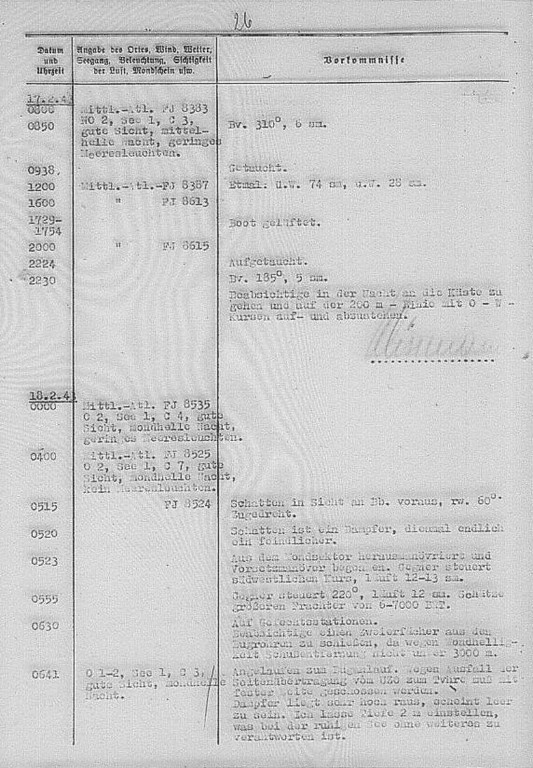The U 518's War Diary, 18th February, 1943, the entry describes the attack on the ship Brasiloide