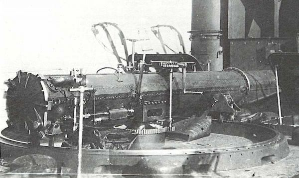 Trainable torpedo tube mounted on the deck of the British destroyer HMS Swift