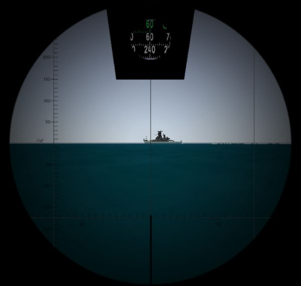 The visualization of the view through the attack periscope (the graticule is visible)