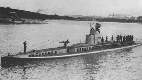 U-Boat SM U-14 (ex Curie - French submarine of Brumaire class) with visible Drzewiecki torpedo launchers under the upper deck