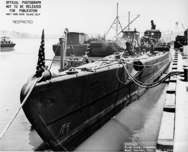 USS Nautilus with visible muzzle doors of bow external torpedo tubes