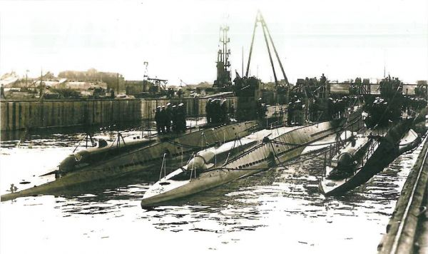 Type VIIA U-Boats with visible stern external torpedo tubes