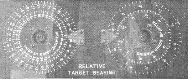 Visual and acoustic target bearing indicator of the the American torpedo calculator