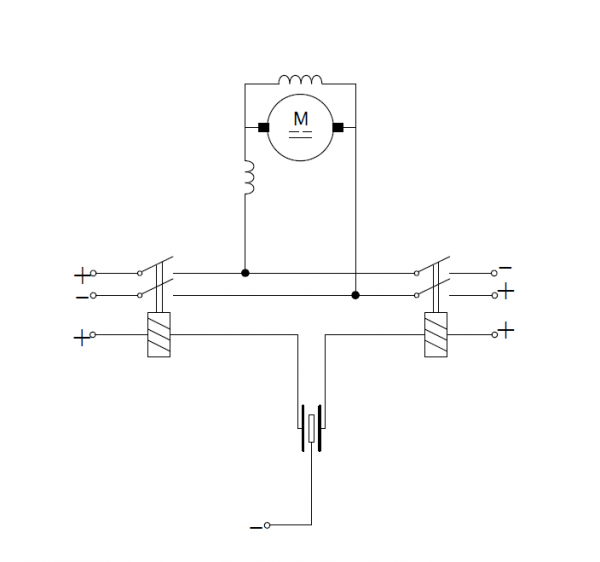 Controlling direct current motor by means of relays
