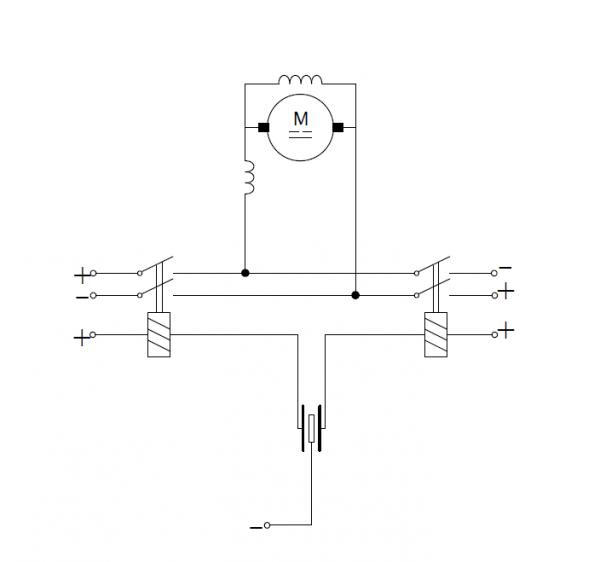 Sterowanie silnikiem prądu stałego przy pomocy przekaźników