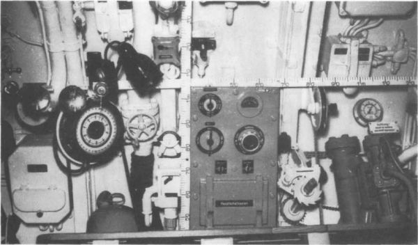 Main distribution box in U 98's control room, the target follow-up switch is also visible