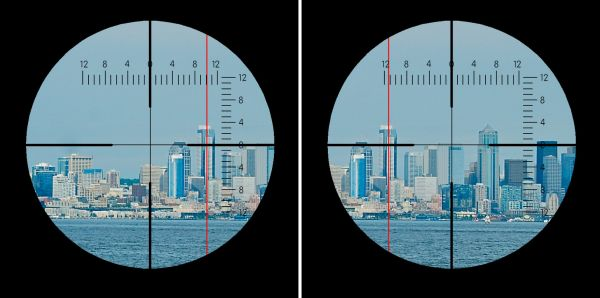 The position of the stabilized azimuth line before and after course change by a few degrees to starboard