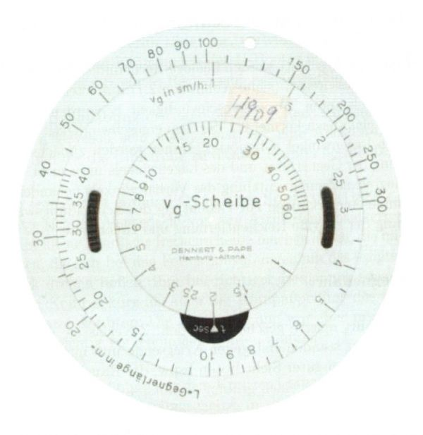 German circular slide rule (vg-Scheibe) manufactured by Dennert & Pape company