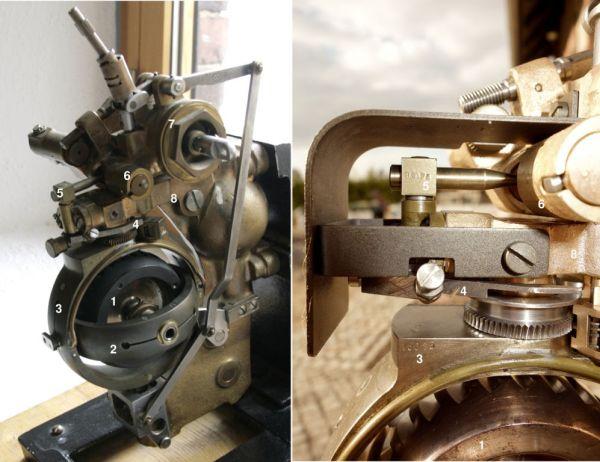 Główna rama oraz dźwignia sterująca żyroskopu GA VIII
