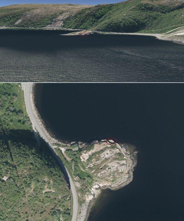 Bateria torpedowa Hambaara – widok z góry oraz od strony wejścia do fiordu Trondheim