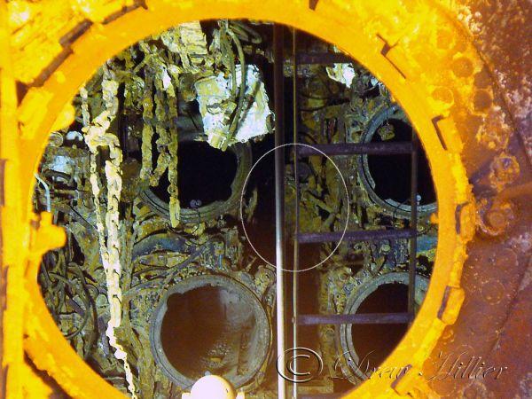 Panel nastawczy Lut w dziobowym przedziale torpedowym U 534