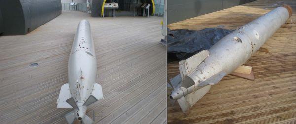 Torpeda w muzeum w Birkenhead, z prawej strony rufowej części widoczne jest wycięcie z czterema wałkami nastawczymi Lut