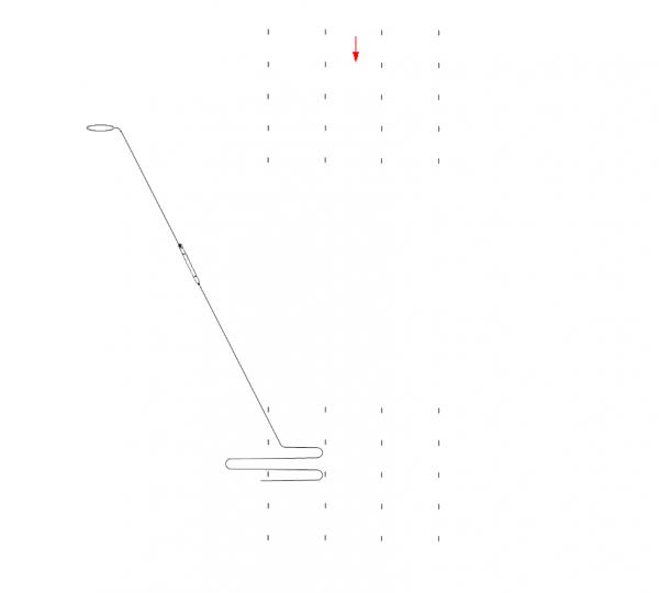 Tor biegu torpedy, która - dzięki drugiemu zwrotowi - manewrując przecina kurs konwoju pod kątem prostym