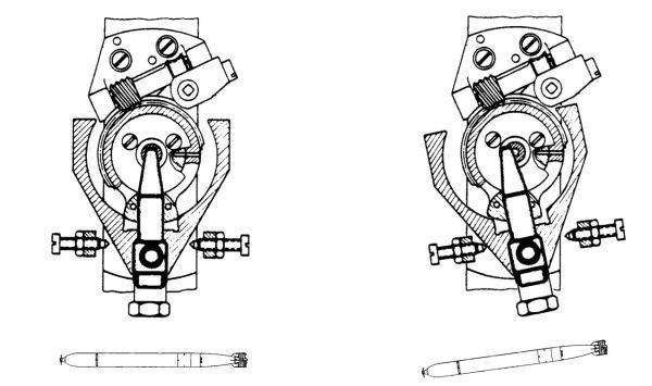 Położenie neutralne oraz po niezamierzonej zmianie kursu (o 8°) torpedy wystrzelonej z zerowym kątem odchylenia żyroskopowego ρ = 0