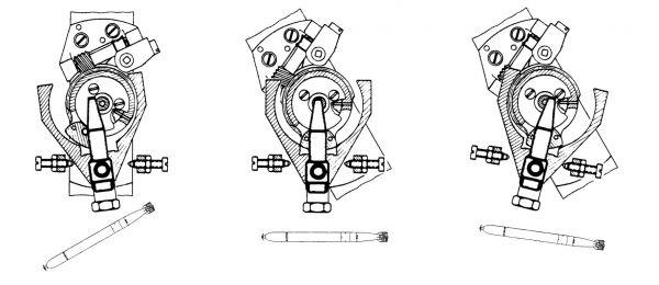 Położenie początkowe (w wyrzutni torpedowej), neutralne oraz po niezamierzonej zmianie kursu (o 8°) torpedy wystrzelonej z niezerowym kątem odchylenia żyroskopowego ρ = 30°