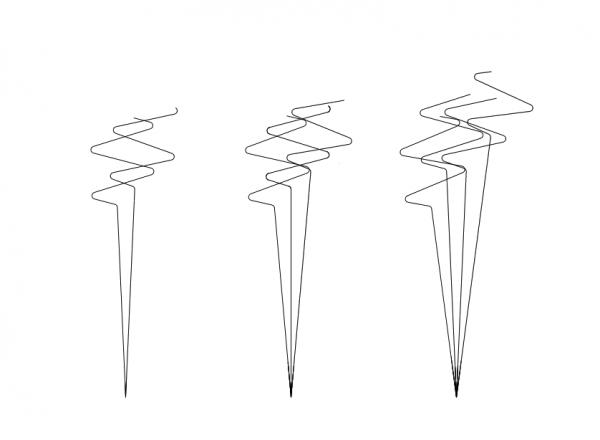 Zróżnicowanie początkowej długości biegu dla salwy 2, 3 i 4-torpedowej (lange Schleife, Vorlauf 50 hm, vLut 10 węzłów, kąt przecięcia 0)