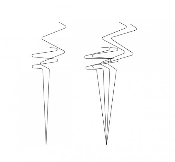 """Zróżnicowanie """"prędkości Lut"""" dla salwy 2, i 4-torpedowej (lange Schleife, Vorlauf 50 hm, vLut 6 i 14 węzłów, kąt przecięcia 0)"""